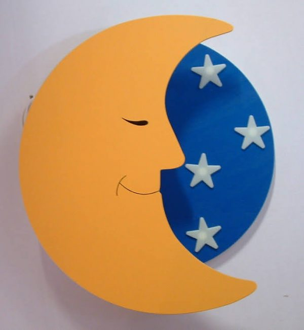 wandlamp maan met sterren blauw
